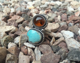 Handmade sterling silver double stone turquoise and amber statement ring UK L/ US 6