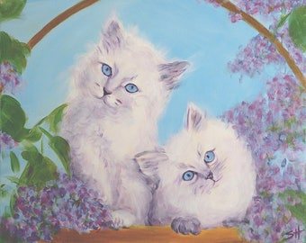 "An original painting, ""Easter Kittens"" by Sherri Hepler, acrylic on canvas"