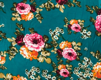 Floral print knit fabric