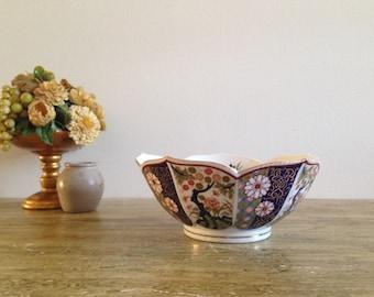 Oriental Porcelain Vase, Asian Colorful Vase, Decorative Flower Vase, Blue & Orange Flowers