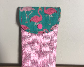 Large cell phone pouch size printed pink flamingos