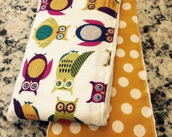 Owls and Dots Cloth Diaper Burp Cloths