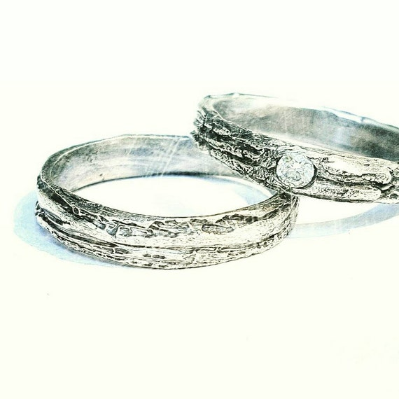 Wedding Ring Diamond Tree Bark Unique Rustic Wedding Set