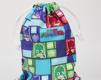 PJ Masks, Birthday Party, Party Bags, Favor Bags, Fabric Bags, Treat Bags, Goodie Bags, Drawstring Bags, Candy Bags