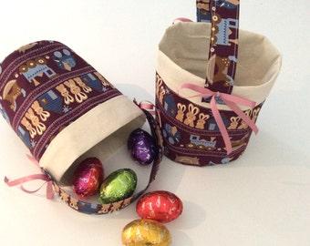Easter Egg Baskets, Calico, Burgundy, Pink & Blue , Quality Hand Made