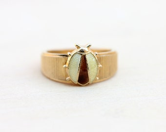 Vintage Yellow Ladybug Ring