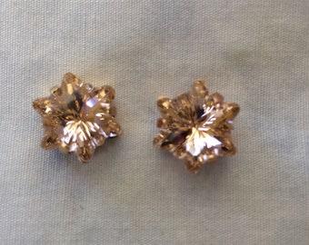 Rose Gold Blush Swarovski Crystal Flower Earrings, Wedding earrings, flower earrings, bridesmaid earrings, edelweiss, stud or clip-on