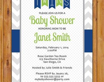 Navy Green Baby Shower Invite Twin Boys Navy Blue Lime Green Bunting Twins Invitation Pennant 5x7 Digital JPG File (264)