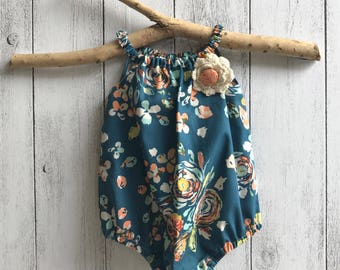 "Baby girl "" Free Spirit"" Sleeveless romper - Navy Floral with brooch Sizes 0000 to 2"