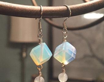 Cubed Moonstone Earrings