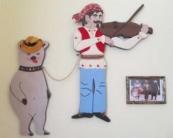 Gypsy and Dancing Bear Mixed Media Wall Art