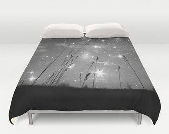 "Duvet Cover Made to Order ""Only the stars and me"" Decorative bedding, unique design,stars,night, black, white,nature, Dorm, bedroom, blanket"