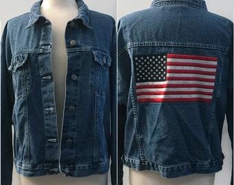Vintage 90s Embroidered Denim Jacket with American Flag, Women's Coat, Jean Jacket, Vintage Denim Jacket, Flag Patch, Size Large