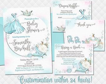Fairytale Cinderella Princess baby shower invitation set girl Pumpkin Carriage birthday invite with inserts aqua thank you book cards