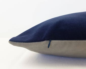 Navy Blue with Grey Large Velvet Fabric Cushion Cover | Free UK Delivery