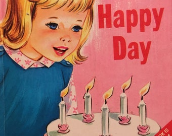 Beth's Happy Day Rand McNally 1966 Pink Birthday Book Five Year Old Patti Fenwick Phyllis Ochocki