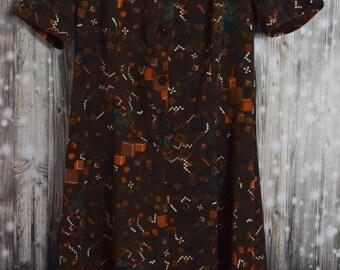 D_012 Vintage 70 's brown print dress