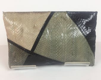 Vintage 1980s Gray Black and Taupe Snakeskin Convertible Clutch