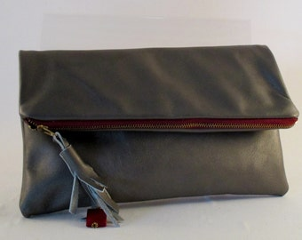 one of a kind leather bag, purse , clutch, foldover