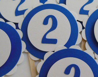 2nd  Birthday Cupcake Toppers - Royal Blue and White - Gender Neutral Birthday Party Decorations - Set of 6