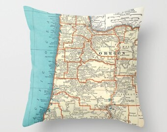Oregon Coast Throw Pillow - Oregon Beaches - retro - surf spots, coastal  decor, travel,  den, dorm, bedroom