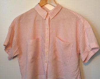 Pastel Pink and White Stripe Crop Top Summer Rayon Shirt