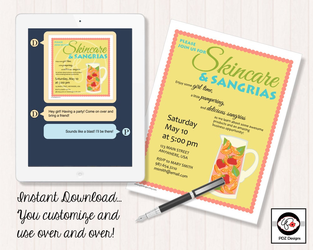 Skincare & Sangrias Skincare Party Invitation Skincare