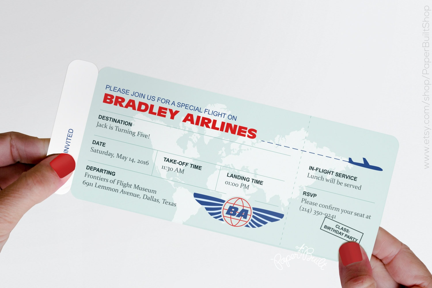 Modern Airplane Birthday Party Airline Ticket Invitation