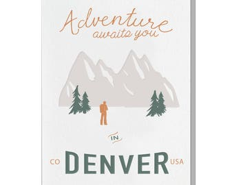 Letterpress Denver Colorado Card, Postcard Style, vintage retro mid century, Rock Climbing, Camping, Hiking, Adventure Awaits, LOC02