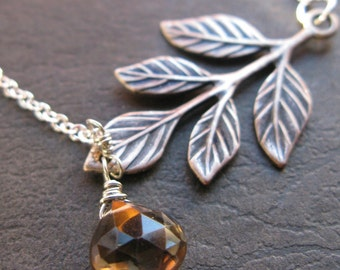 Smoked Silver oxidized olive branch leaf and smokey quartz teardrop necklace SALE CLEARANCE