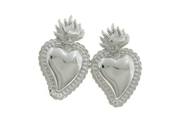 Earrings lobe Sacred Heart 925 sterling silver plated white gold hypoallergenic, size 2cmx1,5cm weight 3,5grammi MK-OR174
