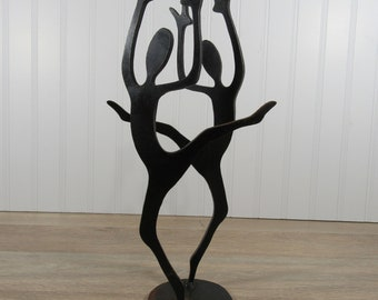 Nice hand crafted iron candle sticks, candle holders - two dancers, dancing couple on platform