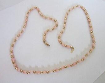 Vintage Elegant  14 K Gold & Light Coral Beaded Necklace