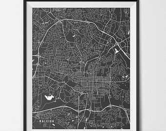Raleigh Map Art Print, North Carolina State Map of North Carolina State University Art Graduation Gift, Meredith College NC State Dorm Decor