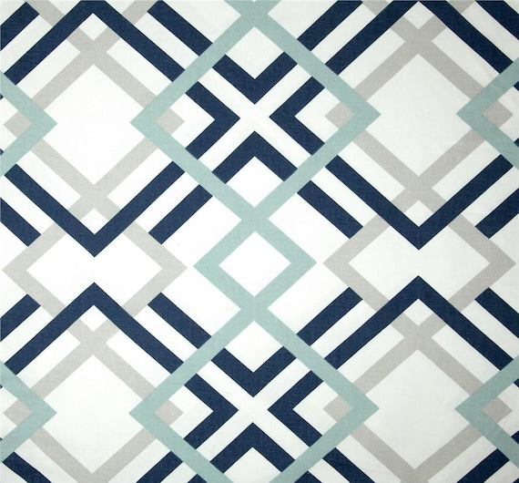 Like this item  Navy Grey Aqua Designer Home Decor Fabric by the Yard Cotton