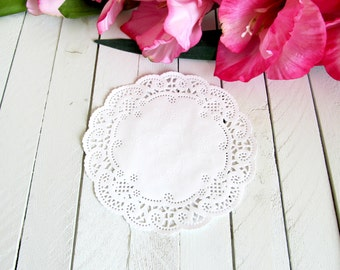 White 5 inch French Lace Paper Doilies - paper doilies, lace paper doilies, paper lace doilies, white paper doilies, paper embellishments