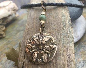 Butterfly Necklace, Connemara Marble, Irish Marble, Butterfly Trio, Celtic Zodiac Signs, Bronze Butterfly, Butterfly Jewelry, Gifts for Her