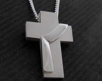 Deacon Jewelry, Large Deacon Stole Cross Necklace, Sterling Silver Deacon Pendant with Chain, from our Spiritus Christian Jewelry