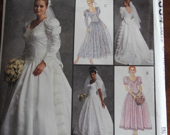 McCalls 6334 Women's Vintage Classic Style Wedding Gowns Sewing Pattern