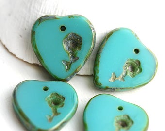 4pc Turquoise Green Heart beads with flower, Floral ornament Picasso Czech glass top drilled beads, 17mm - 3013