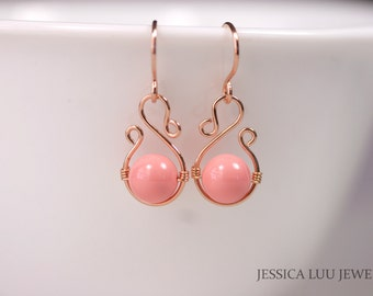 Rose Gold Pink Coral Earrings Wire Wrapped Jewelry Handmade Rose Gold Earrings Rose Gold Jewelry Pink Coral Jewelry Swarovski Pearl Earrings
