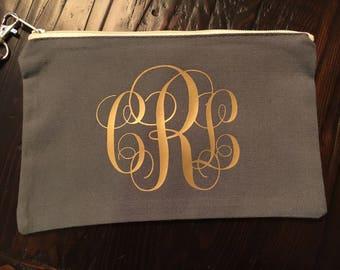 Monogram cosmetic bag, make up bag, personalized cosmetic bag