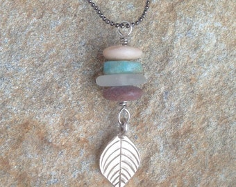Earthy Rock Cairn Necklace stack, Turquoise, Beach Glass, Thai Karen Hill Tribe Silver Leaf
