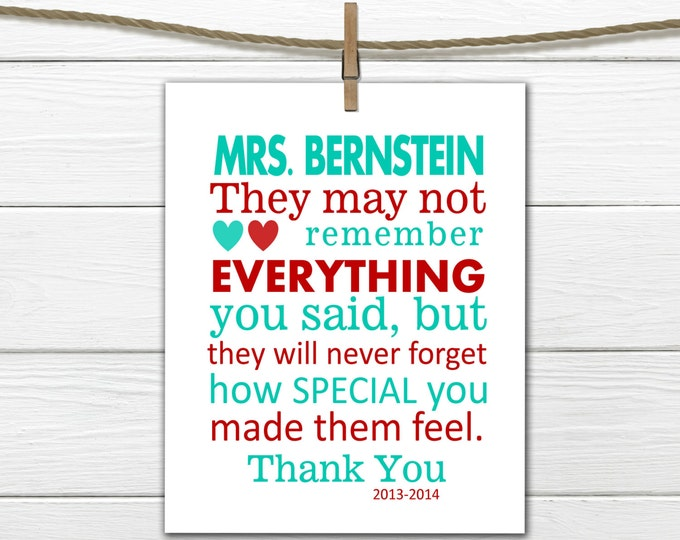 Teacher Appreciation Gift Print PDF Digital Download Personalized Teacher Gift