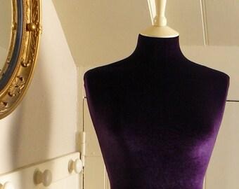 Display Mannequin Sumptuous Velvet Plush Dressform in a Deep Aubergine Purple