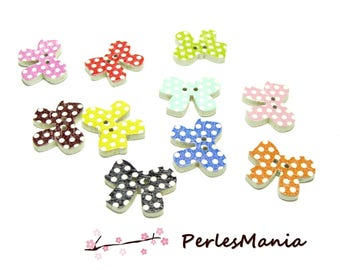 10 wooden multicolored bows ref H1143 dot buttons