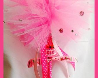Tulle Puff Happy Birthday Wand Hot Pink Rhinestones Polka Dot Birthday Cake Fairy Princess Magic Wand