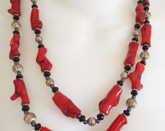 Vintage Red Branch Coral Silver Tone Beads 2 Strand Beaded Necklace