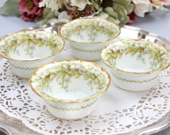 Limoges Ramekin Set, Set of 4, Custard Cups, Nut Bowls, Elegant Dining, Made in France, Early 1900s, Vintage China & Ceramics