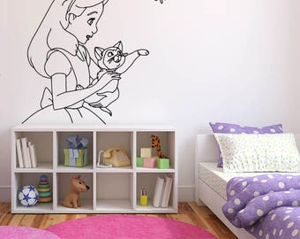 Wall Sticker Decals Alice In Wonderland Cartoon Rabbit Tea Time Cheshire Cat Girl Nursery Bedroom 1370b